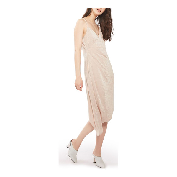 TOPSHOP asymmetrical slinky midi dress - Lustrous body-skimming stretch fabric illuminates with...