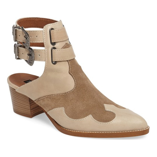 TOPSHOP 'austin' western bootie - Lustrous ornate buckles lend an eye-catching touch to a...