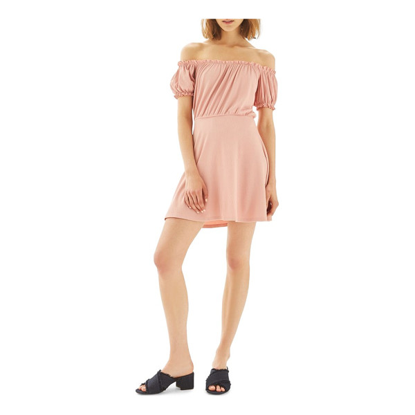 TOPSHOP bardot skater dress - Ruffled, puckered sleeves complete the romance of an...