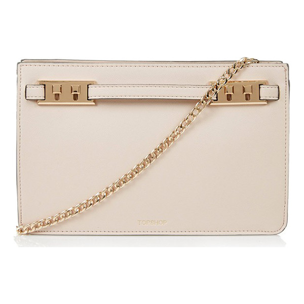 TOPSHOP Belt plate clutch - Neat stitching and polished golden hardware enhance the...