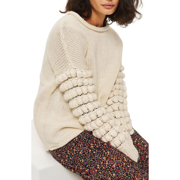 TOPSHOP bobble sleeve sweater - Rows of playful pompoms twist around the sleeves of this...