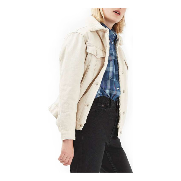 TOPSHOP borg western denim jacket - An oversized Western jacket made of creamy-white denim gets...