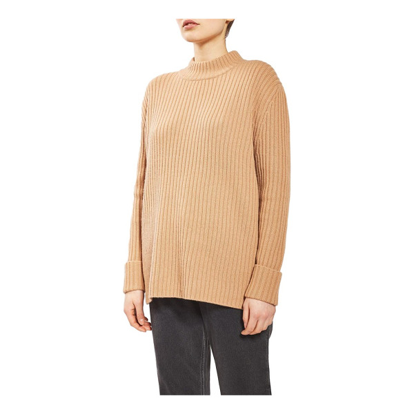 TOPSHOP BOUTIQUE cutout wool sweater - A kiss of cashmere softens a ribbed and roomy wool sweater...