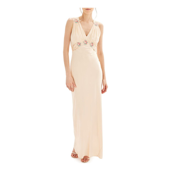TOPSHOP bride embroidered silk gown - Colorful floral appliques enliven the shirred Empire-waist...