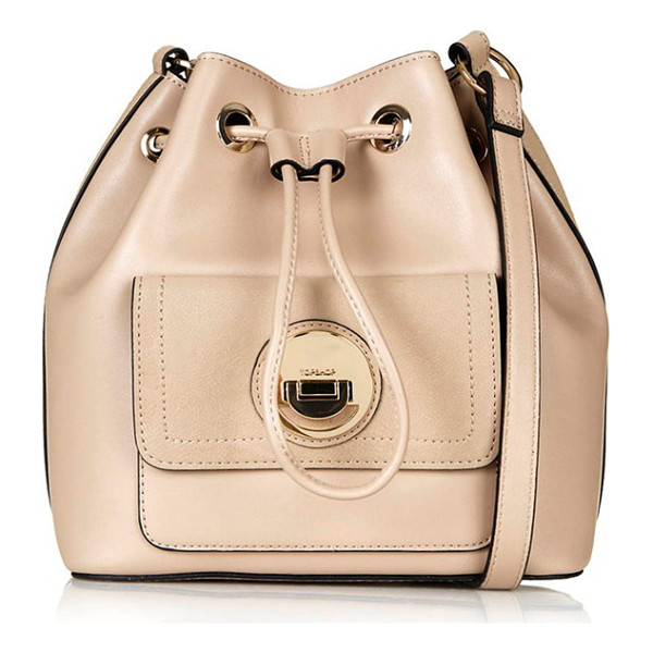 TOPSHOP Circle lock faux leather bucket bag - An adjustable drawstring cinches the top of a roomy bucket...