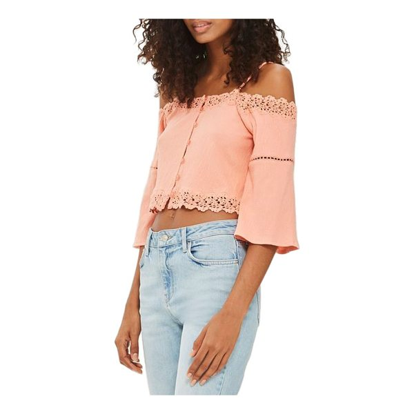 TOPSHOP cold shoulder top - Delicate lace traces a floaty stretch-cotton top cut with a...
