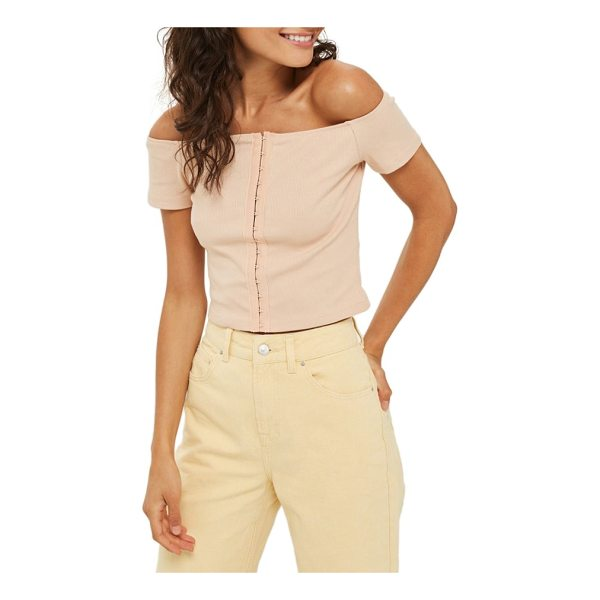 TOPSHOP crop off the shoulder top - A trail of hook-and-eye closures gives flirty lingerie...