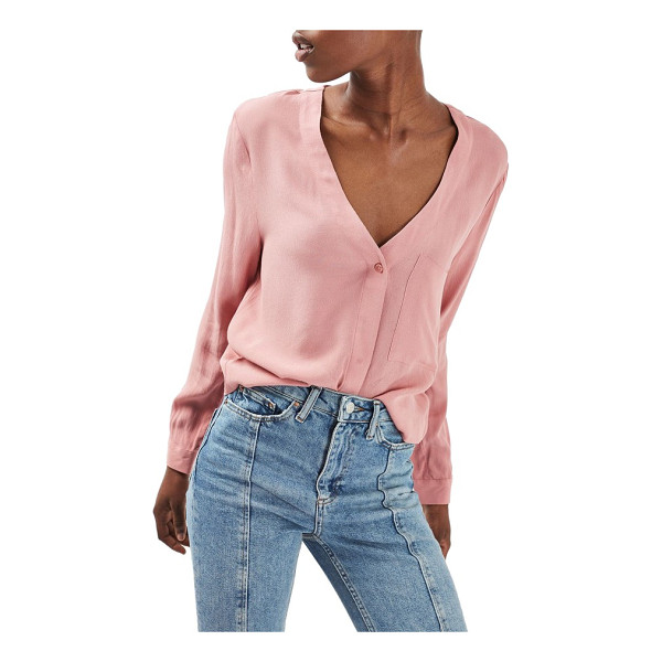 TOPSHOP crop slouch pocket blouse - A work-to-weekend essential is styled with a deep...