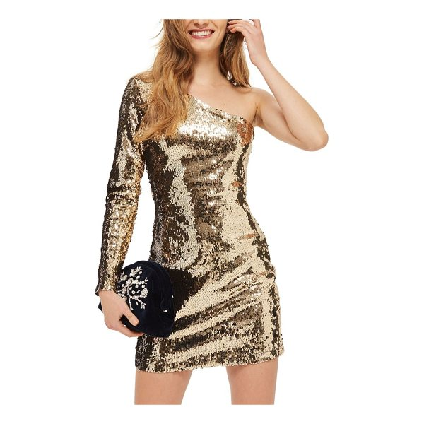 TOPSHOP dazzling sequin one-shoulder minidress - Clinging to every curve with sultry one-shoulder styling,...