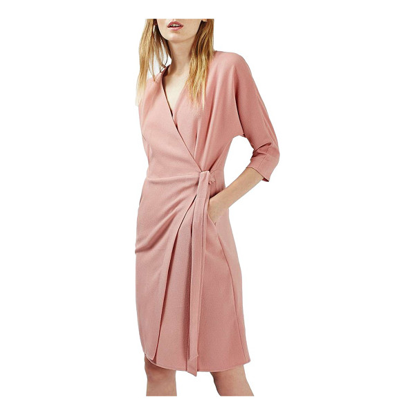 TOPSHOP dolman sleeve wrap midi dress - Looking perfectly polished is a cinch with this tailored...