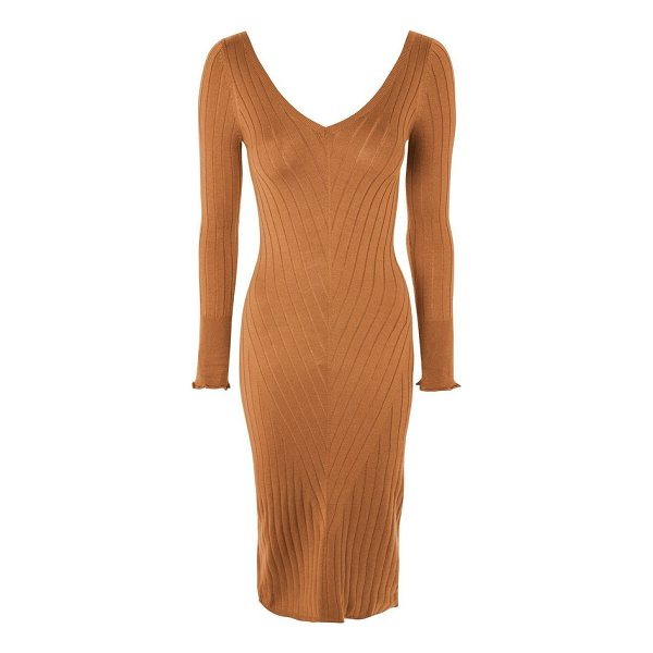 TOPSHOP double v-neck ribbed midi dress - Delicately ribbed in a flattering chevron pattern, this...