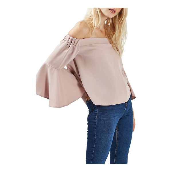 TOPSHOP ella off the shoulder top - Pretty, lightweight crepe adds to the romance of a slightly...