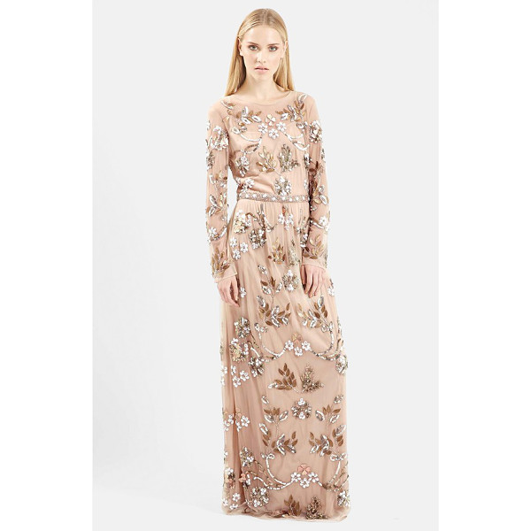 TOPSHOP embellished illusion yoke gown - Floral bouquets and leaves light up the long-sleeve bodice...
