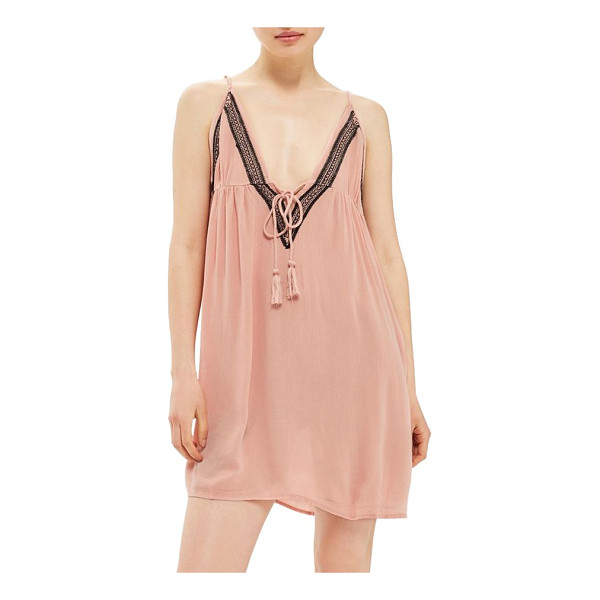 TOPSHOP embroidered cover-up slipdress - Take your boho-chic style to the beach in this light and...