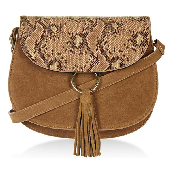 TOPSHOP Faux suede saddle bag - Serpentine embossing on the flap complements the faux suede...