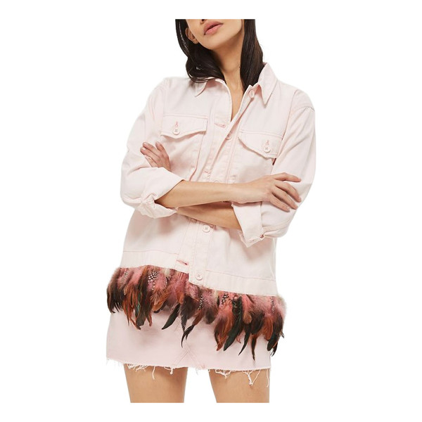 TOPSHOP feather hem army jacket - Utilitarian style lets loose on this cotton shirt-jacket...