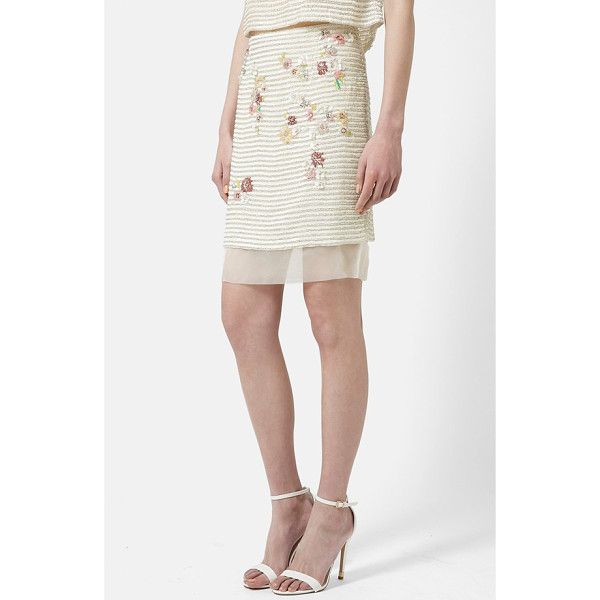 TOPSHOP floral stripe pencil skirt - An underlay of sheer organza flutters beneath the hemline...