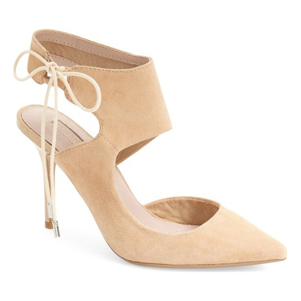 TOPSHOP gallery pointy toe pump - A wide ankle strap and lush suede finish heighten the...