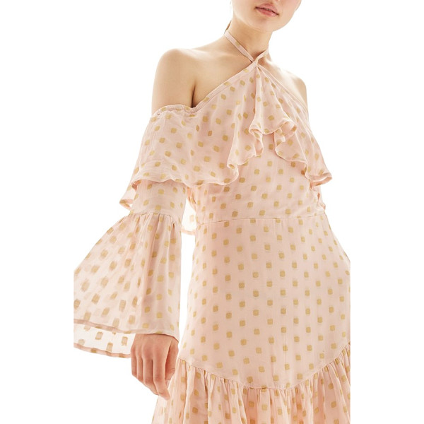 TOPSHOP golden spot cold shoulder halter dress - Entrance from your dinner-for-two through late-night...