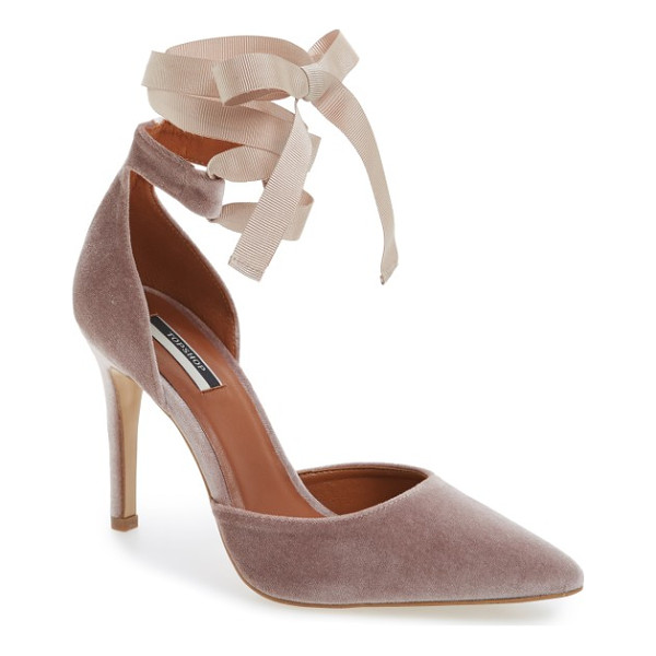 TOPSHOP graceful ankle tie d'orsay pump - A pretty grosgrain ribbon tops this beautifully lush velvet...