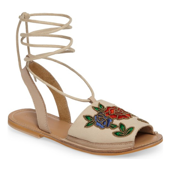 TOPSHOP halle embroidered sandal - Bronze beads glisten while embroidered roses entrance with...