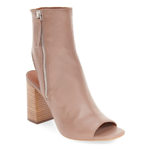TOPSHOP 'home' peep toe boot - A curved, cutout back and stacked block heel extend the...