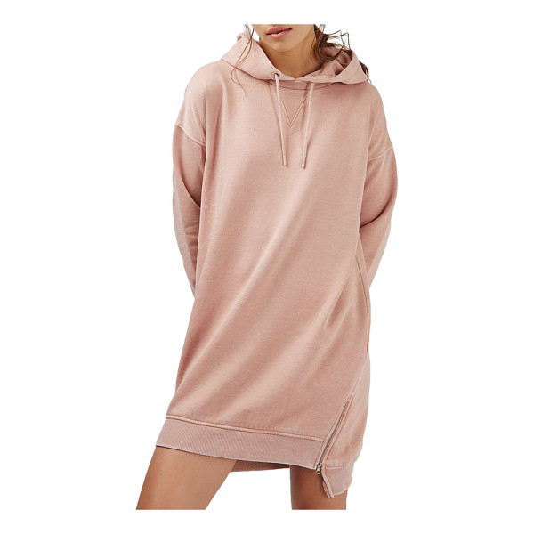 TOPSHOP hooded sweatshirt dress - Zips at the hemline add a modern touch to a casual, hooded...