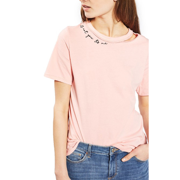 TOPSHOP it's not me slash tee - Let them down easy in this relaxed tee made with a neckline...