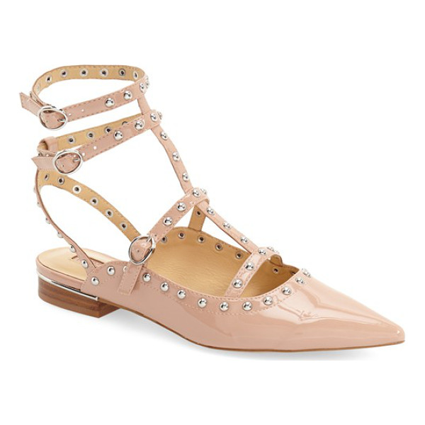 TOPSHOP kate pointy toe flat - Polished dome studs highlight the pointy-toe silhouette of...