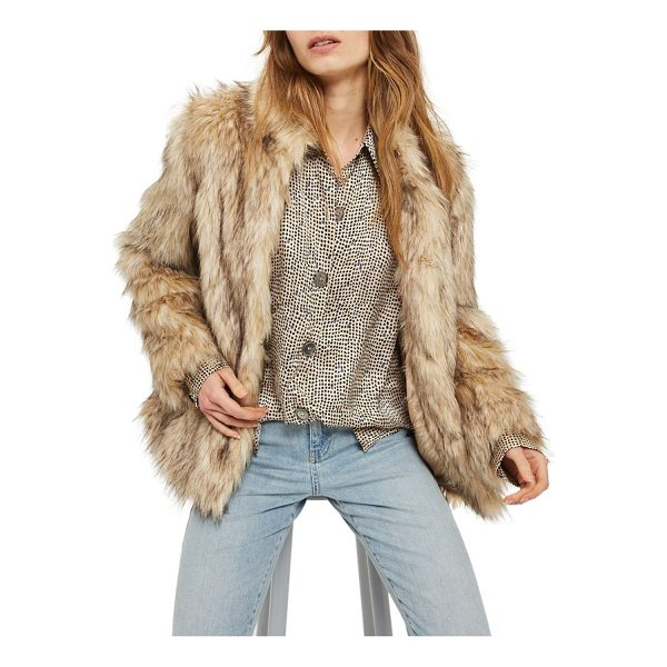 TOPSHOP kendall faux fur jacket - This lush, natural-looking faux fur jacket in a hip-length...