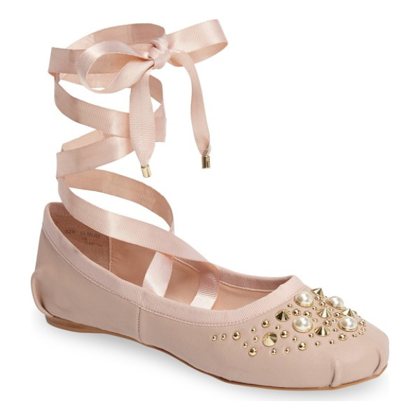 TOPSHOP kisses ballet flat - Pearly beads and polished cone studs add eye-catching edge...