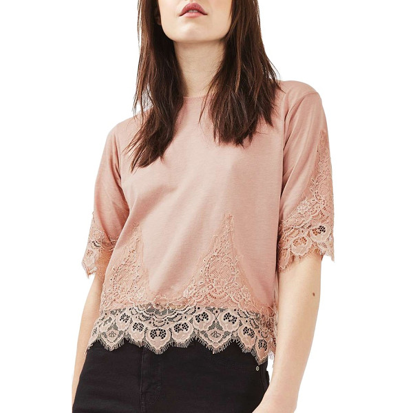 TOPSHOP lace trim tee - Even a denim-and-tee kind of gal can get a little girly...