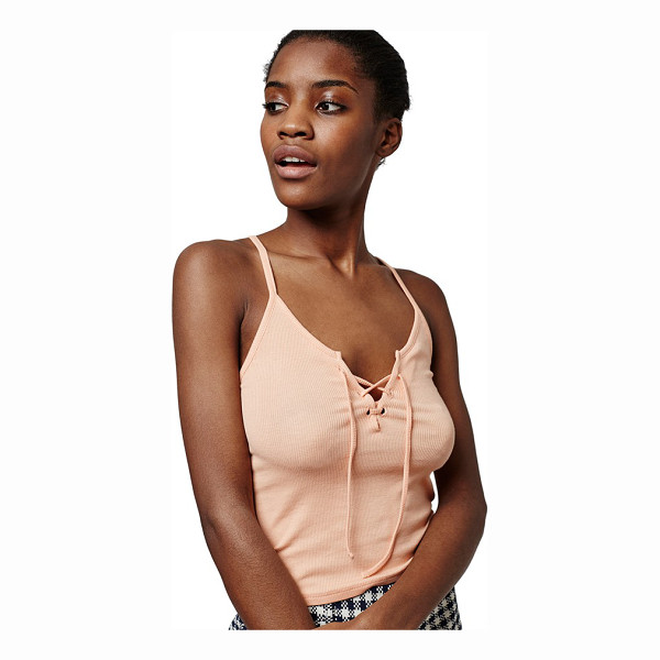 TOPSHOP lace-up camisole - A slim-fitting cami is textured in a thin-wale ribbed knit...