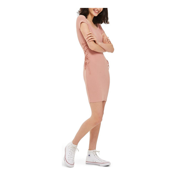 TOPSHOP lace-up side body-con dress - A soft, stretchy, body-con dress doesn't hold back on...