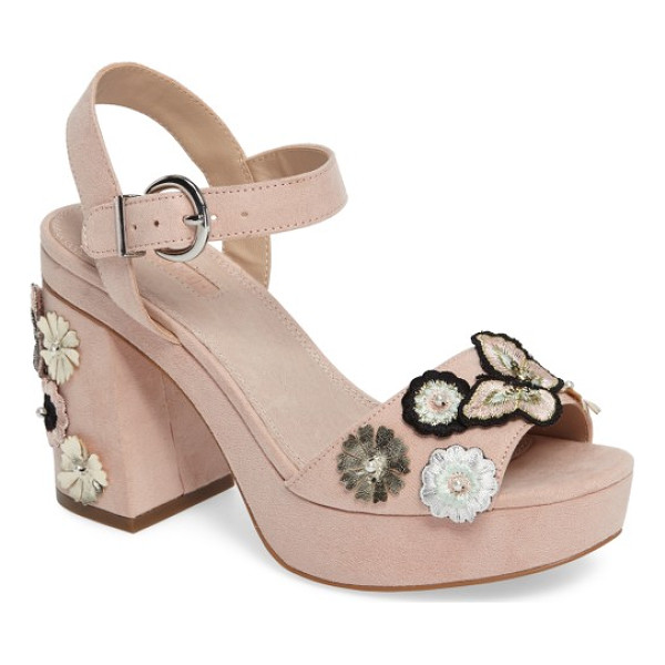TOPSHOP laney embellished platform sandal - Embroidered butterflies flit about a garden of layered...