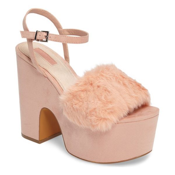 TOPSHOP lash faux fur sandal - A strip of fluffy faux fur tops the toe strap on this...