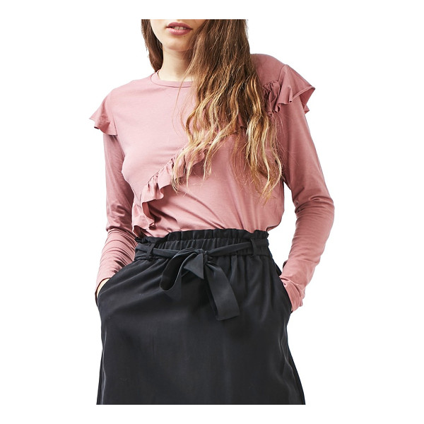 TOPSHOP long sleeve ruffle tee - Cascading ruffles along the front and shoulders elevate a...