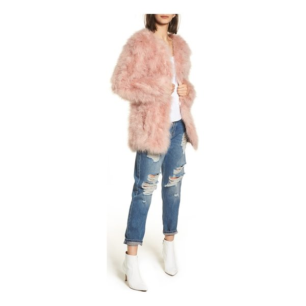TOPSHOP longline marabou feather jacket - Like wearing cotton candy, a pale pink jacket made from...