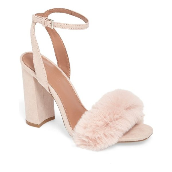 TOPSHOP maison faux fur block heel sandal - A tuft of plush faux fur adds fluffy texture to the strap...