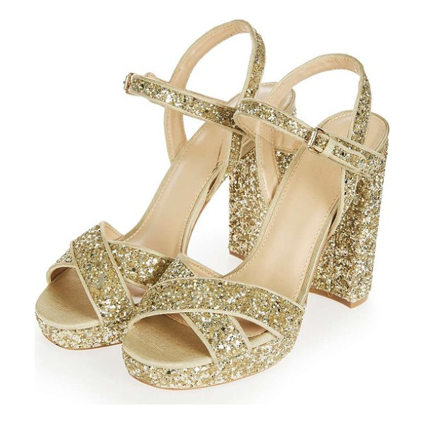 TOPSHOP major glitter platform sandal - Dazzling glitter lights up a crisscross-strap platform...