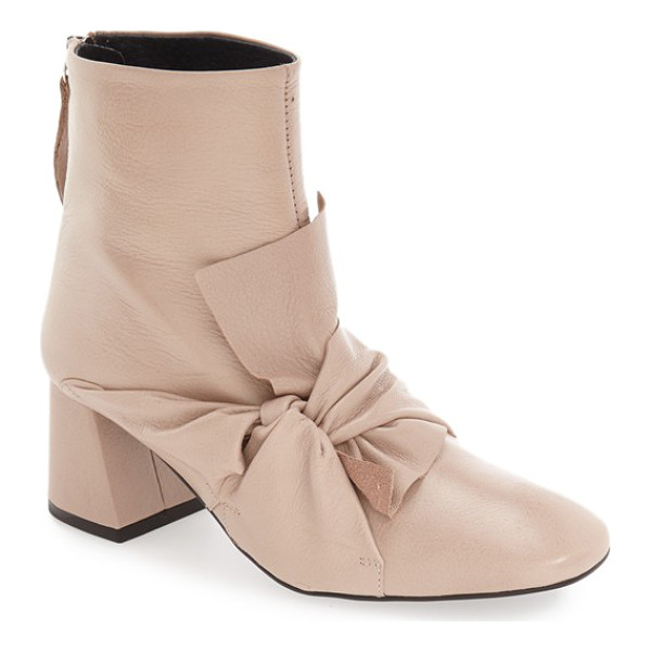 TOPSHOP 'marilyn' square toe bow bootie - Soft luxe leather embraces the instep of this beautiful...