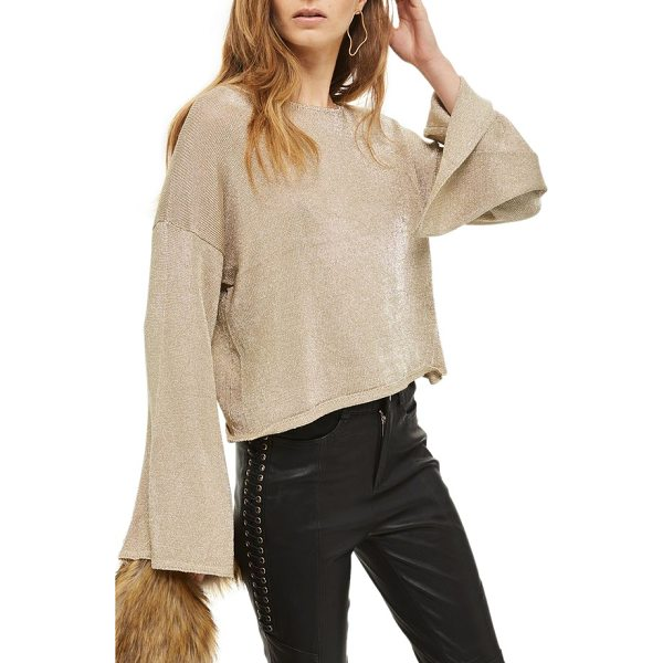 TOPSHOP metallic flute sleeve crop sweater - Be party-ready in a flash by slipping into this...