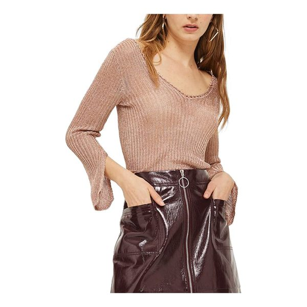 TOPSHOP metallic rib sweater - Cutaway cuffs add statement-making style to a shimmering...
