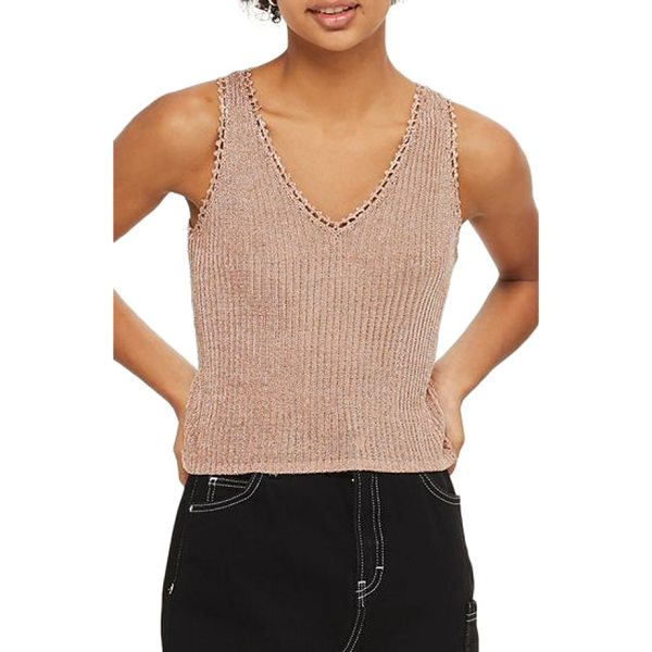 TOPSHOP metallic ribbed sweater tank - Shimmery threads give this slim-fitting sleeveless knit a...