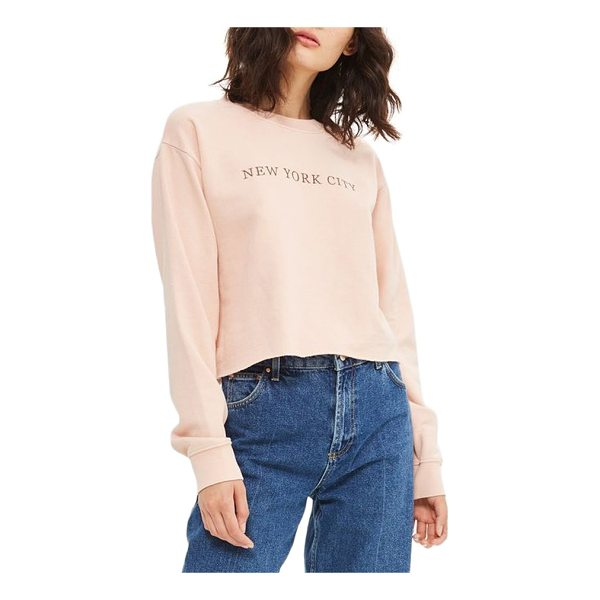 TOPSHOP new york city embroidered sweatshirt - A pale pink sweatshirt finished with a raw-cut hem features...