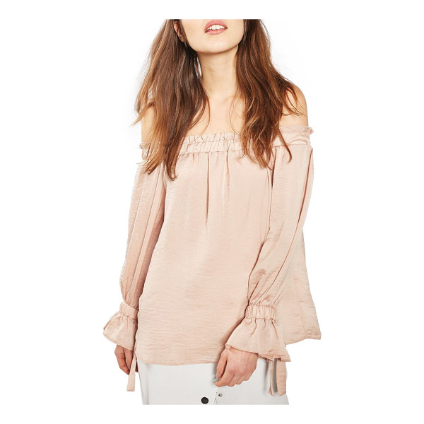 TOPSHOP off the shoulder satin top - Your bare shoulders steal the show in this luminous...