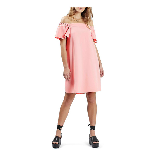 TOPSHOP off the shoulder trapeze dress - Short flutter sleeves complete the unstructured silhouette...