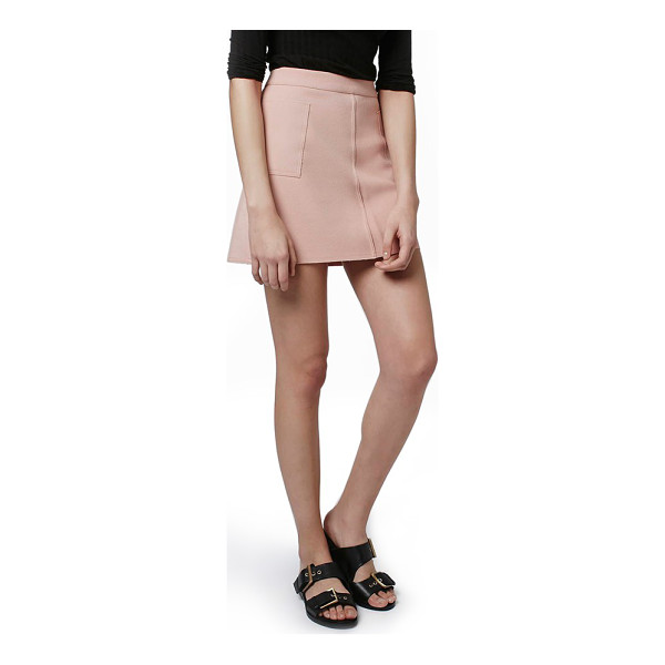 TOPSHOP patch pocket crepe miniskirt - Large patch pockets wrap each hip of a tailored miniskirt...