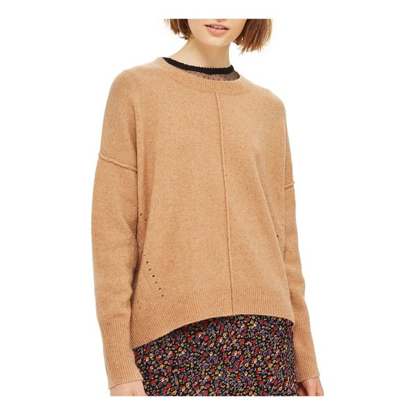 TOPSHOP pointelle detail sweater - Pointelle stitching at the sides and raised seams at the...