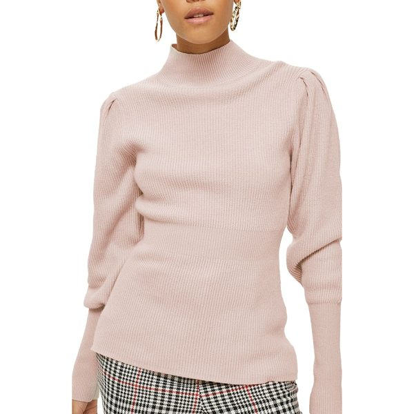 TOPSHOP puff sleeve funnel neck sweater - Puffed sleeves. a nipped-in waist and blushing pink color...